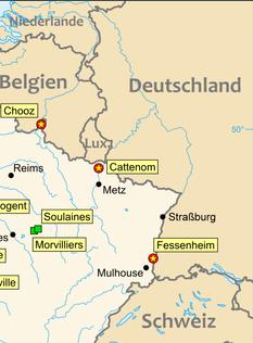 Ausschnitt französischer Kernkraftwerke an der deutschen Grenze // Orginal: Eric Gaba (Sting), J. Schwerdtfeger (js) / Lizenz: Creative Commons: Share-Alike and Attribution required