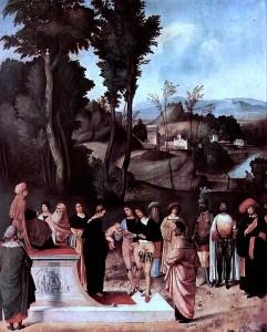 Giorgione - Feuerprobe des Mosesknaben